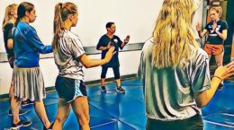 Young women practicing new skills in one of our self-defense for teens classes.